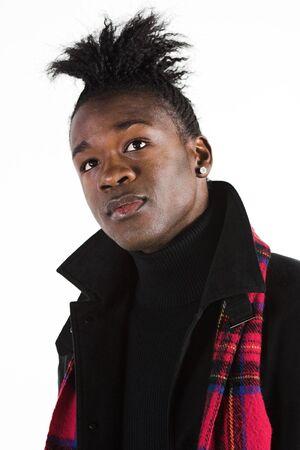 Portrait of a young black man in casual attire
