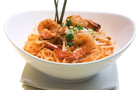 Traditional Thai delicacy made from jumbo shrimps, Thai noodles and prepared with select spices. Garnished with finely chopped green onions.