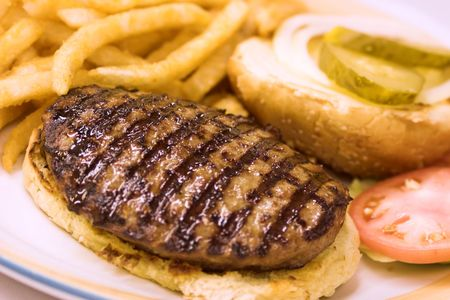 Grilled burger on a bun served with fries and tomatoes. Stock Photo