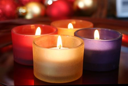 Pattern of colorful celebration candles Stock Photo