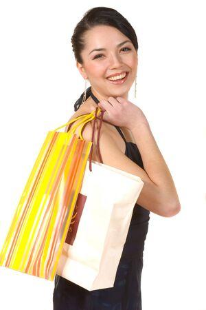 A woman enjoying her shopping spree