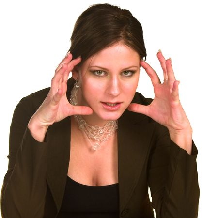 fedup: Angry woman in business suit gesturing Stock Photo