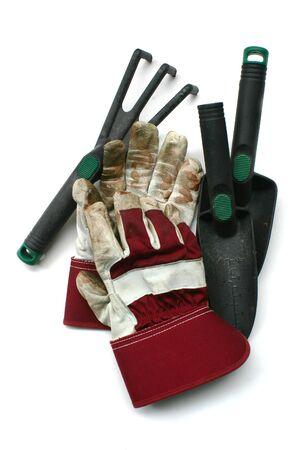 Used gardening  work gloves - Isolated image on white