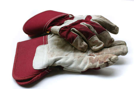 Used gardening  work gloves - Isolated image on white