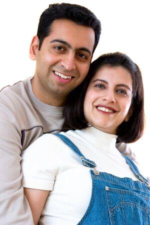 自宅で幸せの東インドのカップル 写真素材