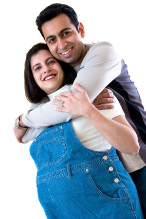 A happy East Indian couple expecting a  Stock Photo
