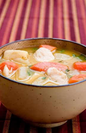 A bowl of caribbean style chicken soup with carrots, potatoes, herbs and cho-cho photo