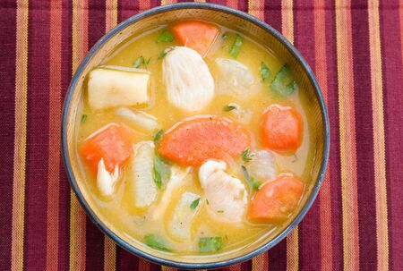 A bowl of caribbean style chicken soup with carrots, potatoes, herbs and cho-cho Banque d'images