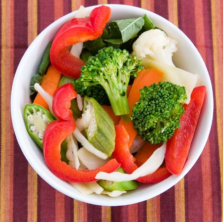 okra: Vegetable salad greens made from broccoli, okra, cauliflower, red pepper lettuce and carrots.