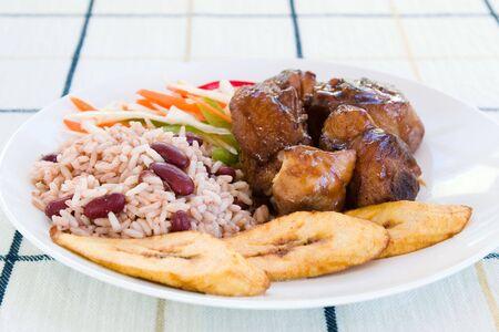 조 림된 닭고기 - 쌀과 야채를 곁들인 캐리비안 스타일. 얕은 DOF.