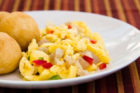 enticing: Caribbean style vegetable dumpling (ackee) served with saltfish or codfish.