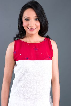 tunic: A model wearing a tunic with traditional Indian embroidery Stock Photo