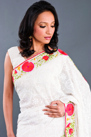 embroidered: A model wearing a beautifully embroidered sari