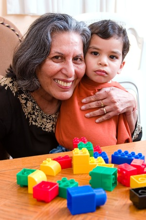 A child with his grandmother during playtime Stock Photo