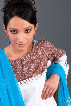kurta: A model wearing a traditional Indian embroidered dress Stock Photo