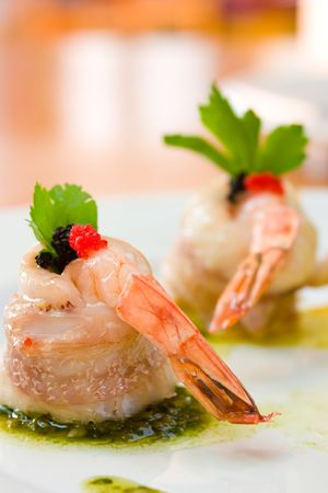 mouthwatering: Shrimp appetizer wrapped in scallops