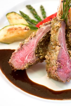 mouthwatering: Crusted lamb chops served with zucchini and peppers