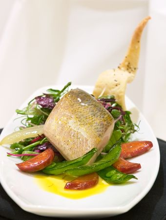 highend: Delicious meal of fish fillet served with a variety of vegetables