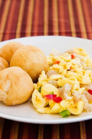 Caribbean style vegetable dumpling (ackee) served with saltfish or codfish.