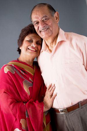 Portrait of a happy elderly East Indian couple Standard-Bild