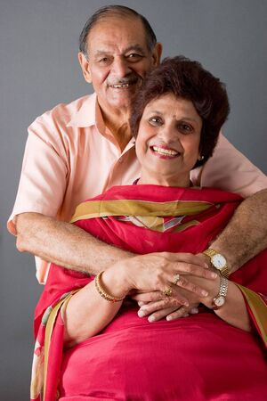 Portrait of a happy elderly East Indian couple Stock Photo - 3519800