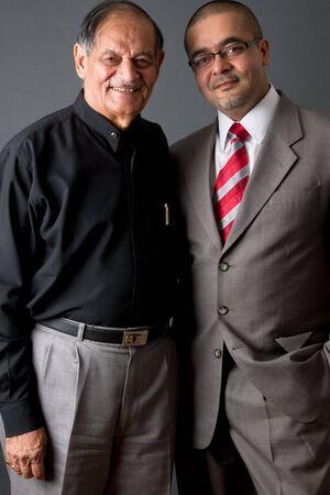 Portrait of a east indian father and son Foto de archivo