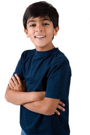 ninos indios: Retrato de un per�odo de siete a�os de edad, muchacho indio Foto de archivo