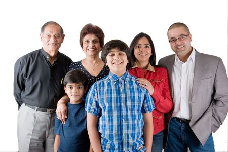 adult indian: An extended Indian family all pose together in a fun setting Stock Photo