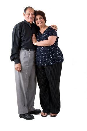 Portret van een gelukkige ouderen Oost-Indische paar Stockfoto
