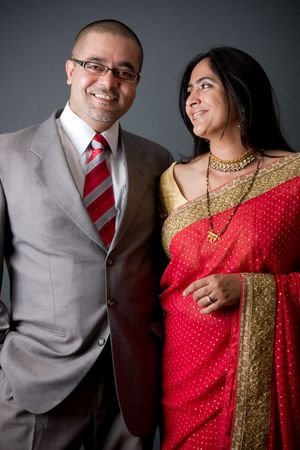 indian traditional: Portrait of a young East Indian couple