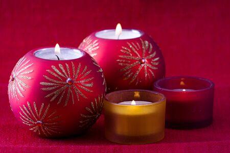 Set of christmas candles for the holiday season