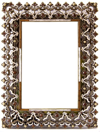 inlay: A beautifully decorates blank frame encrusted with semi-precious stones and gold inlay