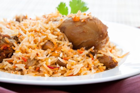 non: Plate of delicious chicken biryani - Hyderabadi style