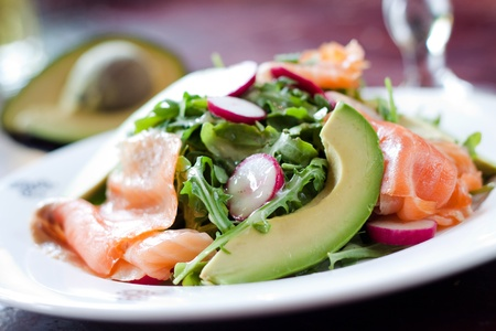 Smoked Salmon, avocados, arugula and radishes tossed in a dijon and lemon dressing to make the perfect seafood salad.