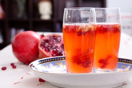A fresh spritzer made from watermelons and pomegranate seeds Stok Fotoğraf