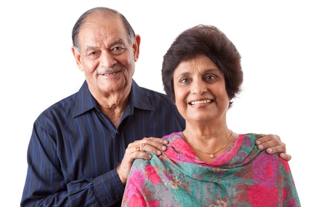 adult indian: Portrait of a happy elderly East Indian couple Stock Photo