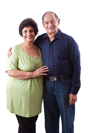 Portrait of a happy elderly East Indian couple Imagens