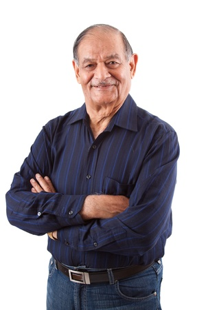 adult indian: Portrait of a happy elderly East Indian man