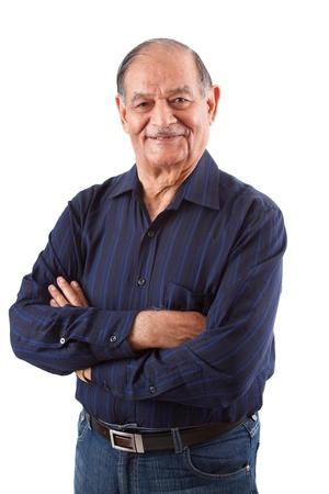 anciano feliz: Retrato de un hombre mayor feliz de las Indias Orientales