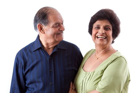 Portrait of a happy elderly East Indian couple Stock Photo