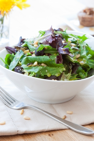 pine nuts: Garden greens salad made with fresh lettuce and spinach. Topped with kalamata olives, pine nuts and drizzled with balsamic vinaigrette. Stock Photo