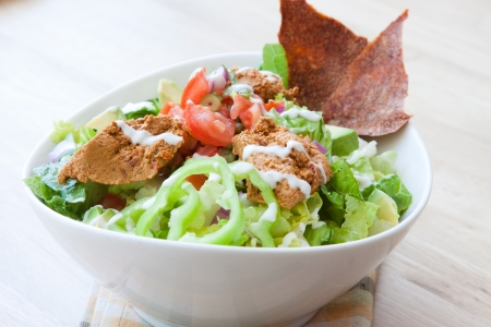 Vegan Taco Salad - Romaine, Avocado, Salsa, Refried beans, Sour Cream, Hot Peppers   Nacho chips  Stock Photo - 13720575