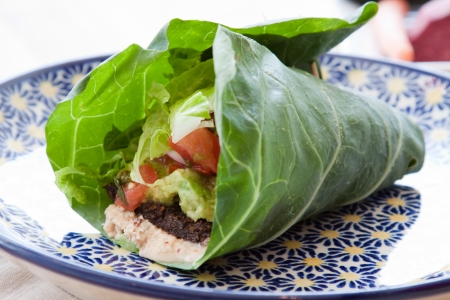 Seasoned nut loaf, guacamole, romaine lettuce, salsa   almond nut cheese wrapped in a collard leaf  Stock Photo