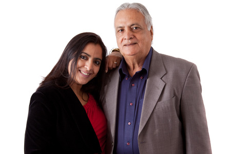Isolated portrait of a east indian father and his daughter photo