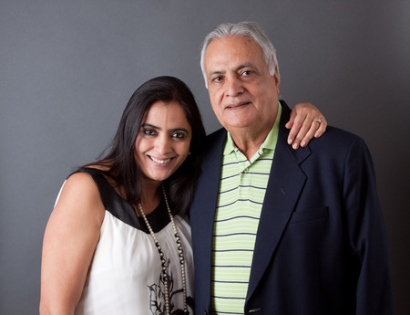 old people: Portrait of a east indian father and his daughter