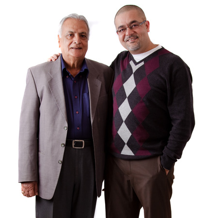 Portrait of a east indian father and son Stock Photo