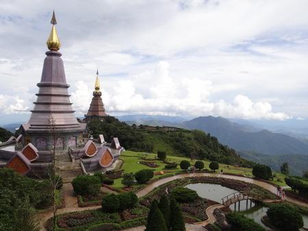 Naphamethinidone and Naphaphonphumisiri, two chedis near the summit of Doi Inthanon, Chiang Mai, Thailand