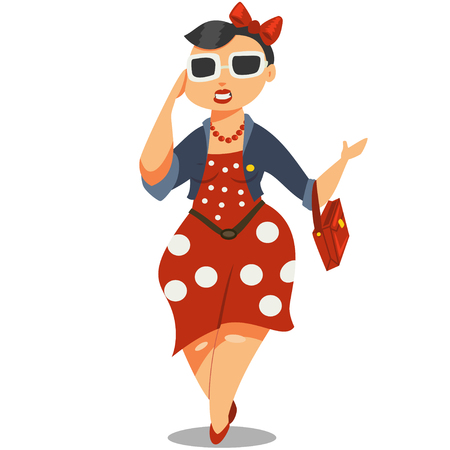 Cute fat girl in sunglasses and a red dress. Young woman plus size cartoon character vector illustration.
