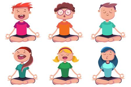 Meditatie van jonge mensen die zich bezighouden met yoga. Vector cartoon karakter set van man en vrouw zitten in lotus pose.