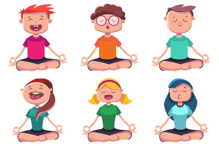 Meditation of young people engaged in yoga. Vector cartoon character set of man and woman sitting in lotus pose. Illusztráció